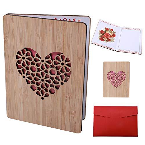 HomeMall Handgefertigte Beschreibbare Bambuskarte, Geschenkkarte Geburtstagskarte Hochzeitskarte Weihnachtskartem, Speichern Sie die Grußkarte Dauerhaft(Liebe)
