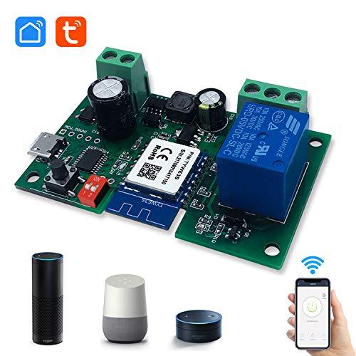 Eachen 1 Canale Intelligente Pulsante Sonoff Relè Wifi, DC 5V/12V Wireless Universale Modulo Telecomando Interruttore Timer per Automazione Cancelli Compatibile con Alexa Google Home, Smart Life App
