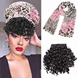 Afro Bun Ponytail Drawstring With Bangs Headband Wigs with Bangs Kinky Curly Afro Wig with White Scarp Synthetic Curly Hair Wigs with Headwraps