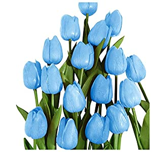 Silk Flower Arrangements Latex Tulips Artificial Flowers for Mom, Bridal Bouquet Wedding Home Party Decoration Fake PU Faux Tulip Bouquet for Living Room Kitchen Garden Party Decor Pack of 10