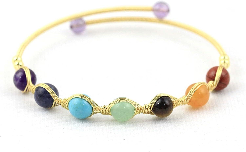 7 Chakra Yoga Meditation Beads Cuff Bracelet Reiki Healing Crystal Stone Seeds Opening Adjustable Wrap Bangle for Women Girl Mom Friend 14K Gold Plated Birthday Jewelry Gift