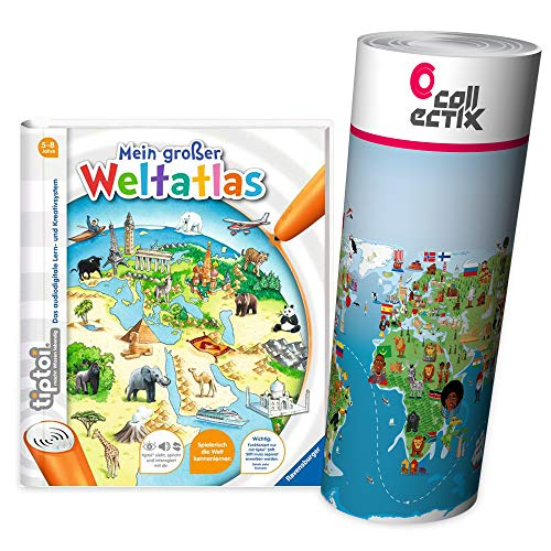 Ravensburger tiptoi ® Buch, Atlas   Mein großer Weltatlas + Kinder Wimmel Weltkarte - Länder, Tiere, Kontinente