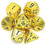 Haxtec - Set di dadi in metallo DND, collezione classica D&D, per dungeons e draghi TTRPG-Gold Black Numbers