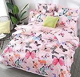 AShanlan Mädchen Rosa Bettwäsche Schmetterling 135 x 200 Kinderbettwäsche Pink Bunt Butterfly...