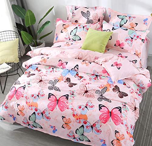AShanlan Mädchen Rosa Bettwäsche Schmetterling 135 x 200 Kinderbettwäsche Pink Bunt Butterfly 100% Mikrofaser Kinder Bettbezug mit Kissenbezug 80x80