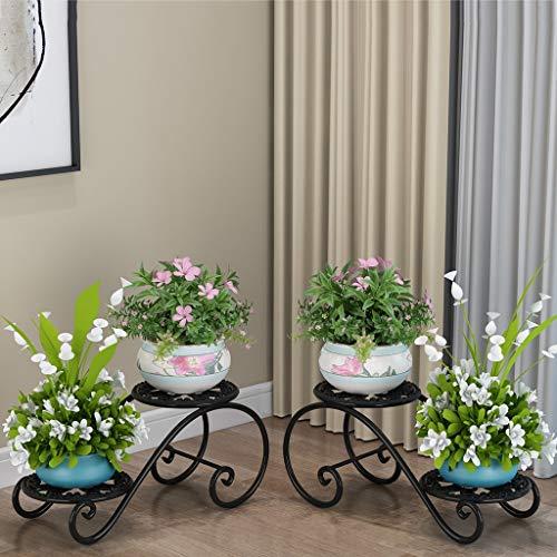 Porte-fleurs Art de fer Multicouche de style européen Sur pied Au sol pour intérieur et extérieur Porte-pots de fleurs 3 couleurs, 2 emballages (Couleur : B)
