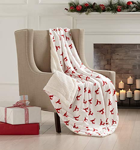 Great Bay Home Super Soft Fleece Sherpa Holiday Throw Blanket - Cozy, Warm Red Reindeer Design Blanket. Eve Collection (50' x 60')