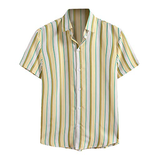 Review Of Toimothcn Men's Polo Shirts Striped Printed Short Sleeved Dress Shirt Comfortable Button Tops(3-Yellow,X-Large)