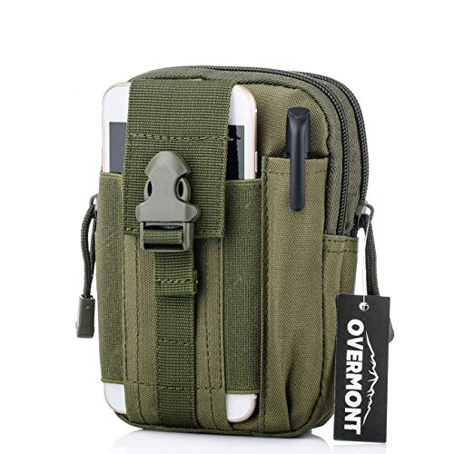 Overmont Bolsa de cintura táctica de Molle marcha bolsa compacta multi-fucional del móvil monedero para camping escalada senderismo al aire libre negro/naranja/verde/caqui/camuflaje
