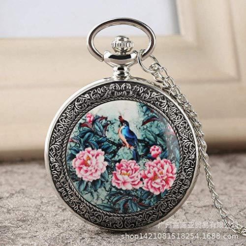 Reloj de bolsillo de cadena vintage, clásico de pintura al óleo, flor...