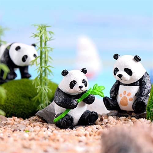 bismarckbeer Fairy Garden Accessoires, 4 pcs Miniature Panda Modèle DIY Dollhouse Fairy Garden Ornement