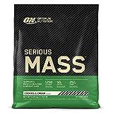 Optimum Nutrition ON Serious Mass Proteina en Polvo Mass Gainer Alto en Proteína, con Vitaminas, Creatina y Glutamina, Galletas y Crema, 16 Porciones, 5.45kg, Embalaje Puede Variar