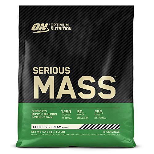 Optimum Nutrition Serious Mass Proteina en Polvo, Mass Gainer Alto en Proteína, con Vitaminas, Creatina y Glutamina, Galletas y Crema, 16 Porciones, 5,45kg, Embalaje Puede Variar