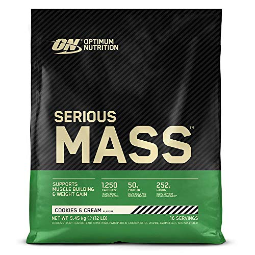 Photo of Optimum Nutrition Serious Mass Protein Powder High Calorie Mass Gainer with Vitamins, Creatine Monohydrate and Glutamine, Cookies and Cream, 16 Servings, 5.45 kg, Packaging May Vary