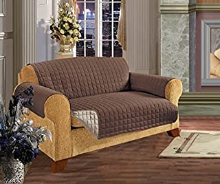 Elegant Comfort Reversible Quilted Furniture Protector- Special Treatment Microfiber As Soft as Egyptian Cotton, Chocolate Love Seat