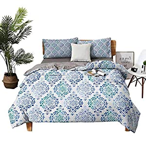 DRAGON VINES Four-Piece Bedding Sheet Set a King Size Sheet Set Old Fashioned Floral Motifs Traditional Moroccan Elements Classical Sea Green Violet Blue Bed Sheets King Size Deep Pocket