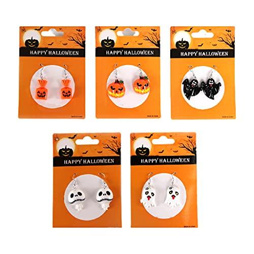 shiftX4 Decoraciones de Halloween, pendientes con forma de lágrima, lindos aretes de calavera de fantasma de calabaza para mujeres, regalos de joyería de fiesta