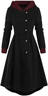ANJUNIE Womens Halloween Vintage Cloak, Plus Size Jacket Snap Button Trim Long Skirted Hooded Coat Tops