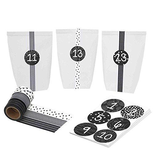 DIY Adventskalender mit Washi Tape - zum selber basteln und befüllen - schwarz weiß - mit 24 Zahlenaufklebern und Papiertüten - Set 16