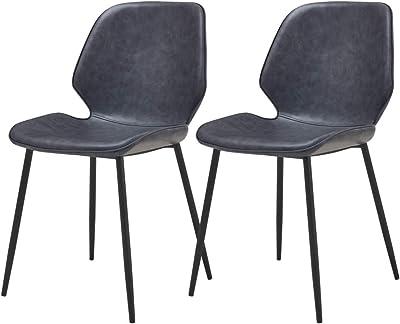 Selsey RABLART - Lot de Deux chaises Salle à Manger - Gris de Cuir éco - Pratique - Confortable