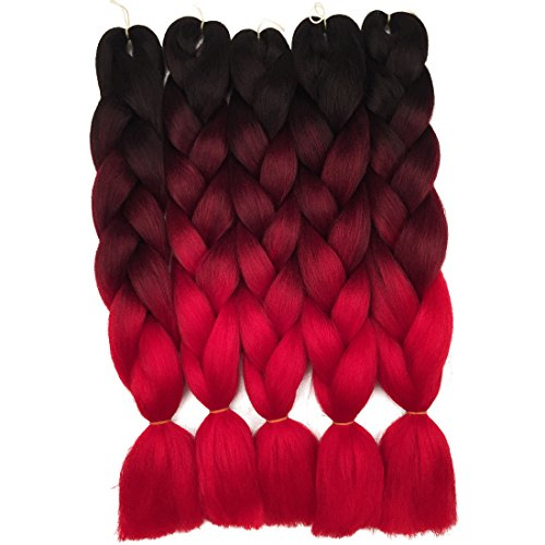 5 Pieces Ombre Synthetic Braiding Hair Jumbo Braids Hair Braiding Kanekalon Mambo Twist Synthetic Hair Extension (24, black-purple-red) (24, black-wine-red)