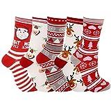 5 pares de calcetines navideños de moda estilo de dibujos animados lindo calcetines de algodón suave calcetines de equipoRegalo de Navidad