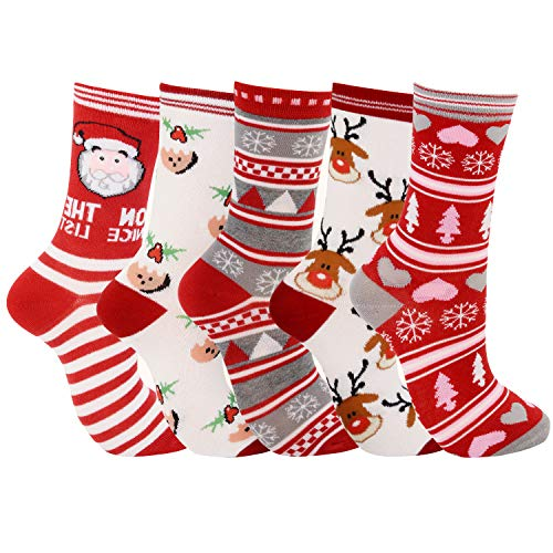 Legendog 5 Paare Weihnachtssocken, Unisex weiche Baumwollsocken/Warm Weihnachten Socken für Männer und Frauen