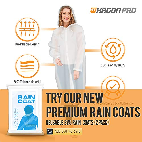 Hagon PRO Disposable Rain Ponchos for Adults (5 Pack) Premium Quality 50% Thicker - 100% Waterproof Emergency Rain Ponchos with Hood - for Concerts, Amusement Parks, Camping