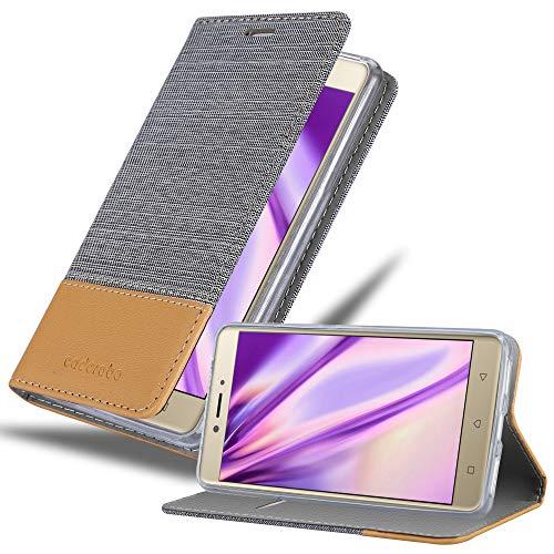 Cadorabo Hülle für Lenovo K6 Note - Hülle in HELL GRAU BRAUN – Handyhülle mit Standfunktion & Kartenfach im Stoff Design - Case Cover Schutzhülle Etui Tasche Book