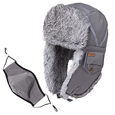 SIGGI Trapper Hat Rabbit Fur Aviator Hat Ear Flaps Russian Winter Cold Weather Hat Windproof Mask Men Women Grey Gray