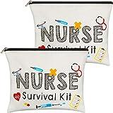 2 Packs Nurse Survival Kit Cosmetic Bag Funny Makeup Bag Nurse Gift for Women, Nursing Student, Nurse Practitioner, Nurse Appreciation Week Gift Travel Bag