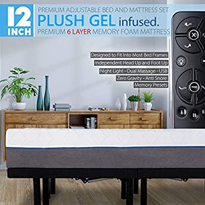 """Blissful Nights 12"""" Queen Size Cool Gel Infused Plush Memory Foam Mattress with Premium Adjustable Bed Frame Combo, Massage, USB, Zero Gravity,Anti-Snore, Nightlight (Queen)"""