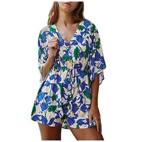FRAUIT dames jumpsuit jurk Bohemen bloemenprint blouse-jurk V-hals korte mouwen Playsuit casual short jumpsuit lange mouwen bloemen jurken korte knielange partyjurk casual