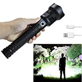 Rechargeable Flashlights High Lumens, 90000 Lumens Super Bright Led Flashlight with Batteries Included, Zoomable, 3 Modes, Waterproof Tactical Flashlight for Camping, Emergencies