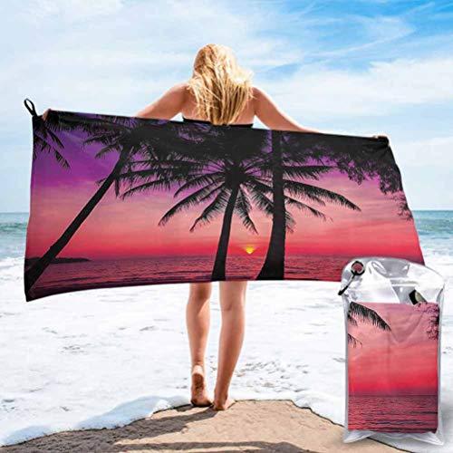 Tropical Decor Collection, toalla de playa de Mirofibra, diseño de palmeras en Sunset Tropical Beach Coastline Exotic V, toalla libre de arena para niños adultos, 78,7 x 160 cm, color morado magenta