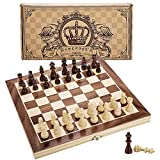 Amerous 12' x 12' Magnetic Wooden Chess Set for Adults and Kids, 2 Bonus Extra Queens, Folding Board with Storage Slots, Handmade Chess Pieces, Portable Travel Chess Board Game Sets, Gift Packed Box