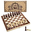 """Amerous 12"""" x 12"""" Magnetic Wooden Chess Set for Adults and Kids, 2 Bonus Extra Queens, Folding Board with Storage Slots, Handmade Chess Pieces, Portable Travel Chess Board Game Sets, Gift Packed Box"""
