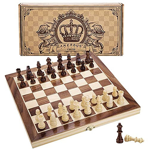 Amerous 12' x 12' Magnetic Wooden Chess Set for Adults and Kids, 2...