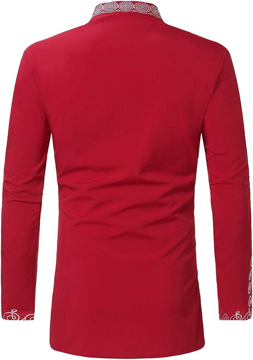 con Botones Estilo Dashiki Africano Rojo Rosso XL lymoo Camisetas africanas de Manga Larga para Hombre Informal