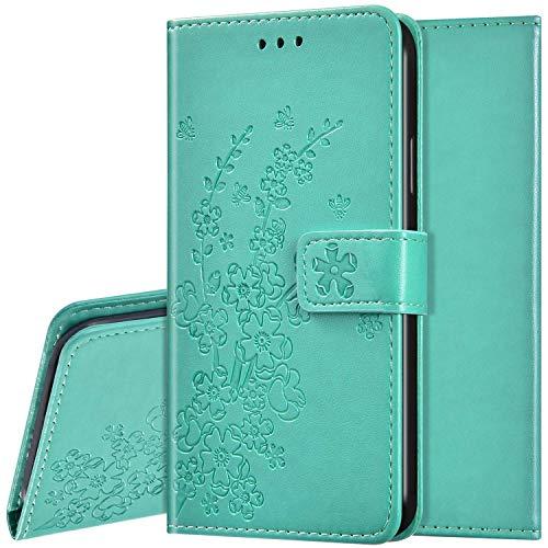 Compatible con Xiaomi Redmi 8 PU Cuero Funda Wallet Funda Funda Flor de Ciruelo Diseño Cartera de Protección Carcasa con Función Soporte Magnético Funda Antigolpes Carcasa Carcasa Verde