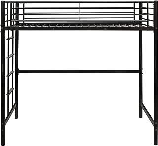 Bonnlo Twin Size Metal Loft Bed Frame for Kids/Teens, Space-Saving Design, Black