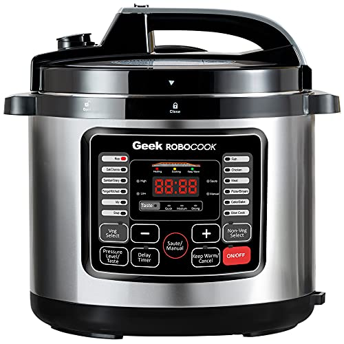 Geek Robocook Nuvo 6 Litre Electric Pressure Cooker with Non Stick Pot, Black