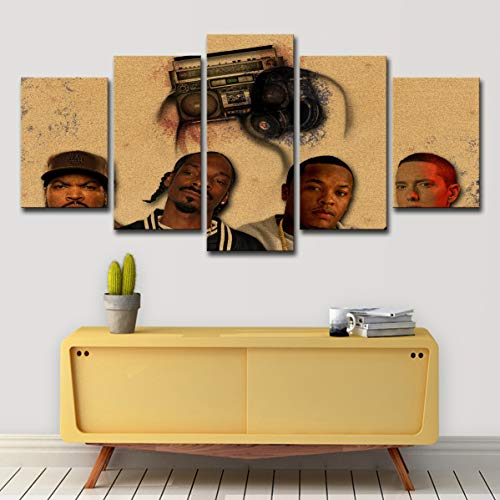 upnanren Eminem-Figur Wandbild 75 cm Home Wohnzimmer Dekoration Gemälde 5 Paneele (mit Rahmen) kann direkt aufgehängt Werden