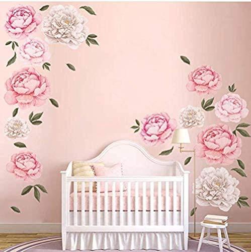 FFVVE Pegatinas de pared de peonías gigantes, románticas flores de pared, calcomanías de pared para dormitorio, sala de estar, decoración del hogar (2 unidades)