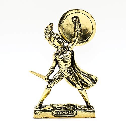 Helcee Statue Spartanischer Krieger, handgefertigt, Messing, 18 cm