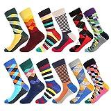 BONANGEL Calcetines Estampados Hombre, Hombres Ocasionales Calcetines Divertidos Impresos de Algodón de Pintura Famosa de Arte Calcetines, Calcetines de Colores de moda (12 Pares-Pattern 8)