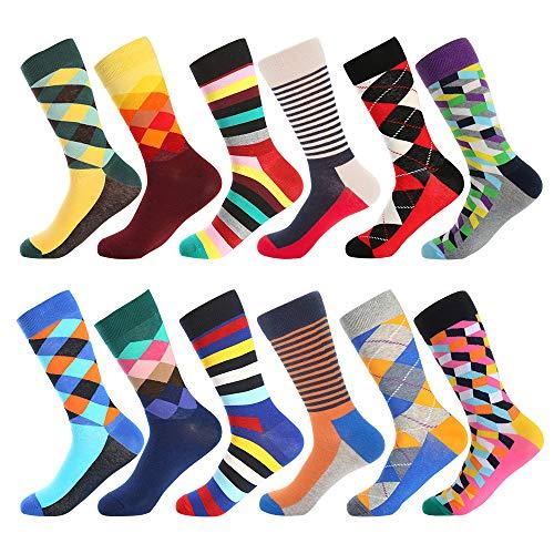 Herren Lustige Bunte Socken,Herren witzige Strümpfe, Fun Gemusterte Muster Socken, Verrückte Socken Modische Mehrfarbig Klassisch als Geschenk, Neuheit Sneaker Crew Socken (12 Paar-Pattern 8)