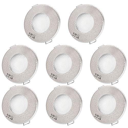 Einbaustrahler AQUA SLIM 230V (Rund, Matt-Chrom) Inkl. 8 x IP44 Einbauspots Deckenspots Feuchtraum Badezimmer, 8 x Fassung GU10 - Ohne Leuchtmittel