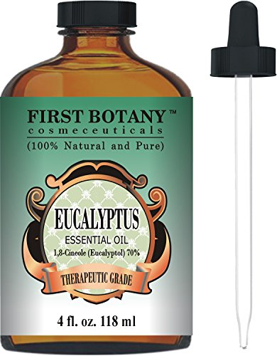 Eucalyptus Essential Oil - Big 4 Oz - 100% Pure & Natural Therapeutic Grade with Glass Dropper - Eucalyptus Oil is Great for Aromatherapy, Hair Nourishment, Mosquito Repellent & More!