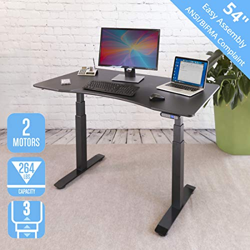 Seville Classics OFFK65818 AIRLIFT Pro S3 54' Solid-Top Commercial-Grade Electric Adjustable Standing Desk (51.4' Max Height) Table, Black/Black